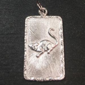 """Silver """"Lucky"""" &  mouse Zodiac Charm Pendant"""
